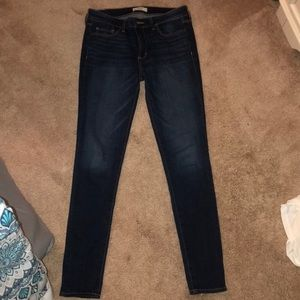 Abercrombie and Fitch dark wash mid rise jeans.